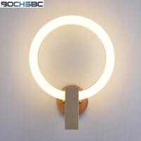 BOCHSBC акрил кольцо настенный светильник светильники базой из массива дерева Nordic современные фары для Спальня Гостиная Обеденная лампы