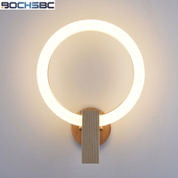 BOCHSBC Acrylic Ring Wall Lamp Light Fixtures Solid Wooden Base Nordic Modern Lights For Bedroom Living Room Dining Room Lamps