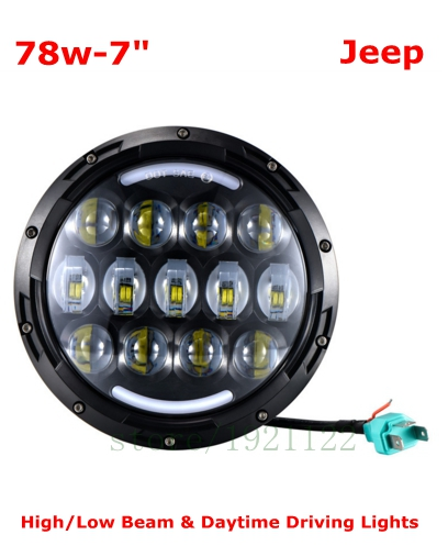 """7/"""" INCH Round LED Headlight Projector H//L DRL for Motorcycle Harley Jeep 78W"""