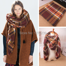 WJ38 New Arrival 2014 Brand Tartan Scarf Poncho Scarves Women Men Winter Warm Orange Plaid Blanket Square Scarf Free Shipping