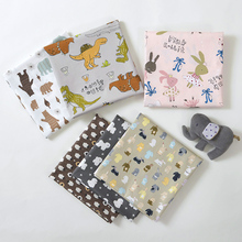 160x50cm Lovely Animal Dog Rabbit Dinosaur Twill Pure Cotton Fabric, DIY Baby Bedding Quilt Cover Pillow Case Cloth 160g/m