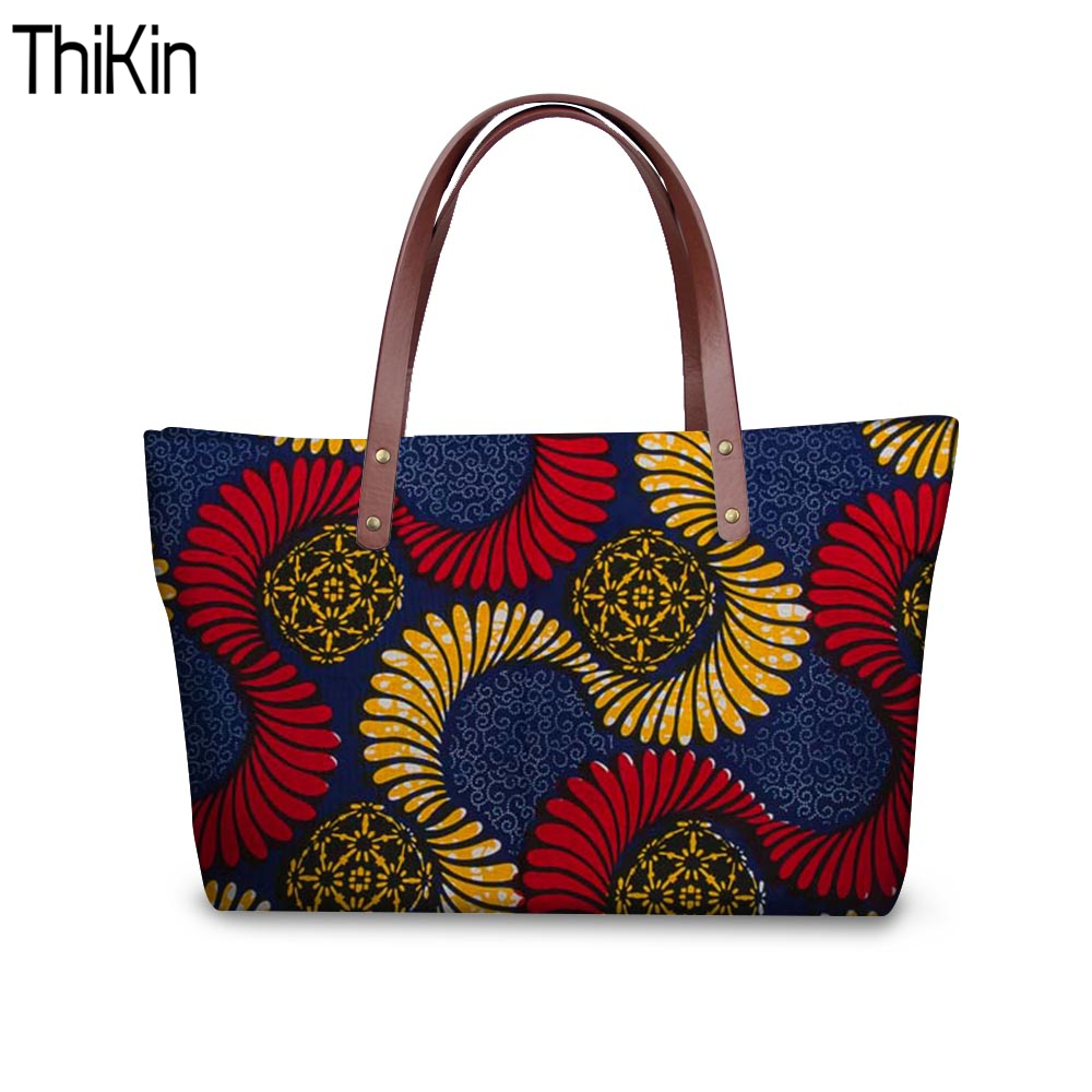 663824afced1 THIKIN Women Shoulder Bags Ladies Large Tote Tribal Ethnic Traditional  African Beach Bags Female Messenger Bags