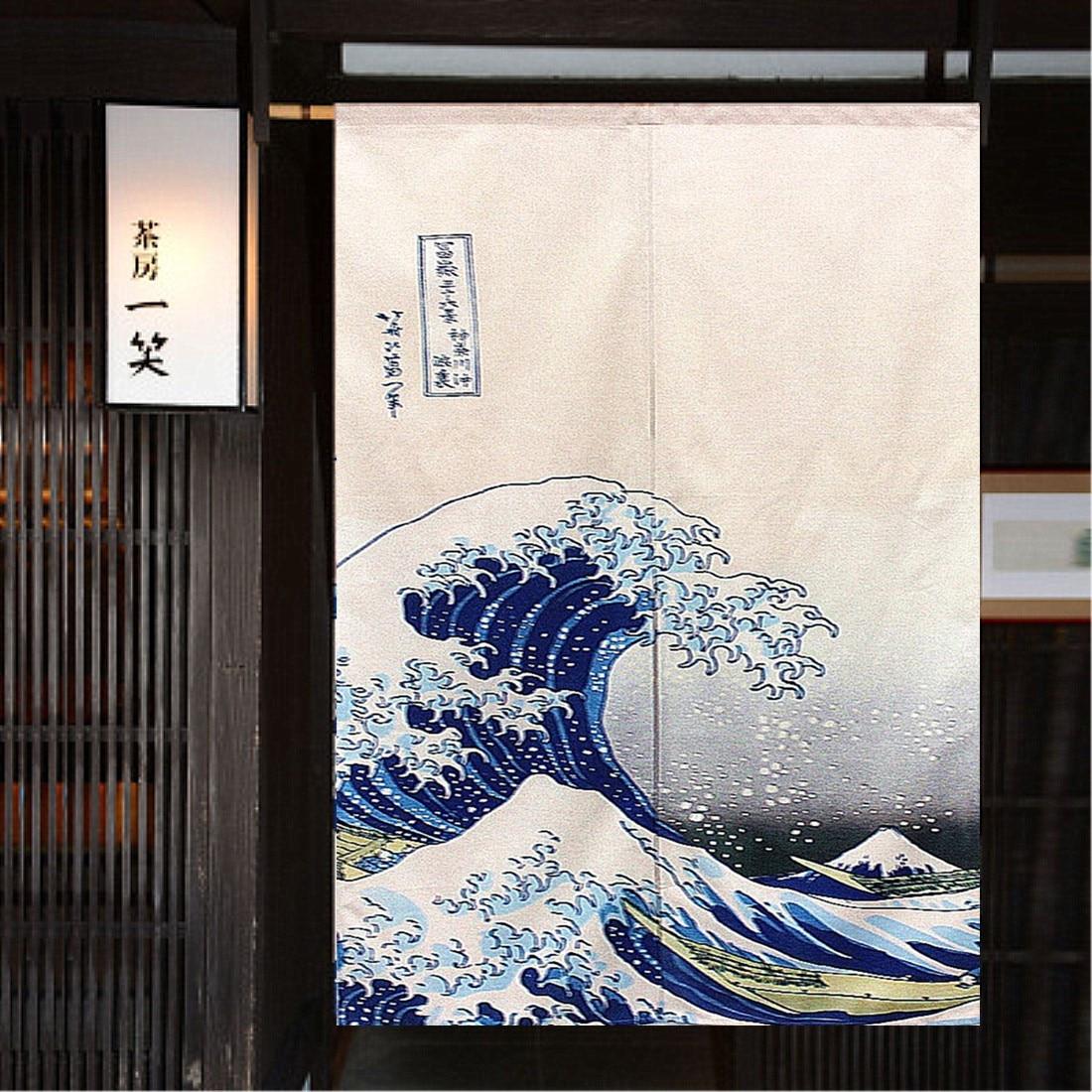 Feng Shui Curtain Noren Mountain Fuji Japanese Curtain Doorway Great Wave Hokusai Japan