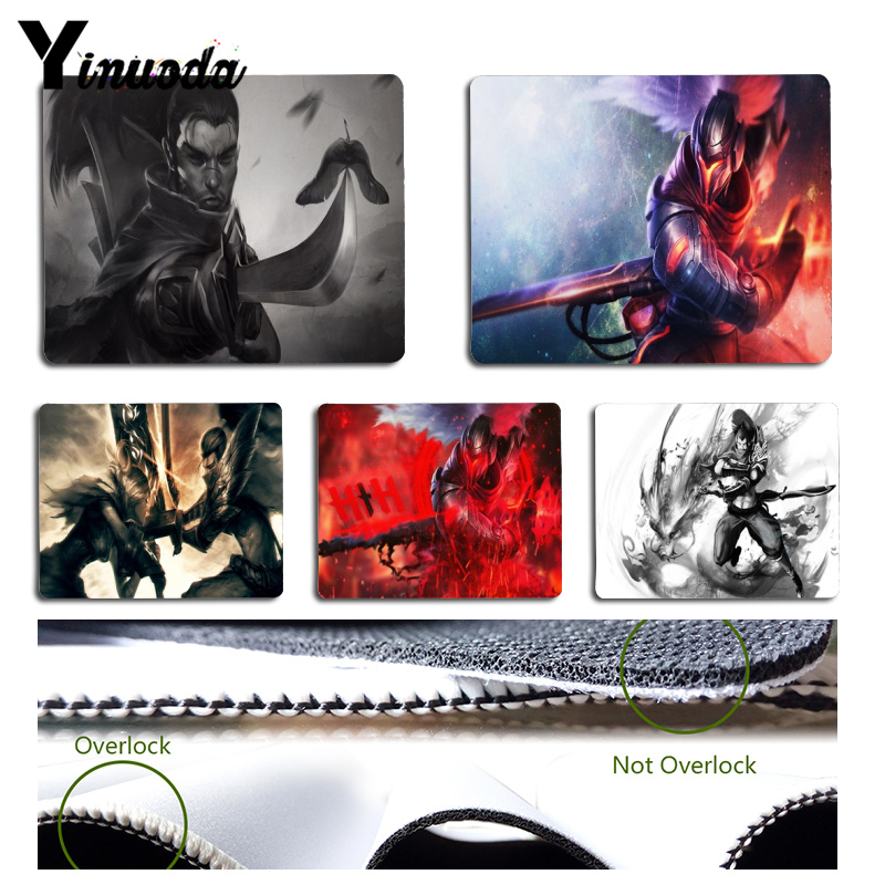 Yinuoda New Printed LOL Yasuo Computer Gaming Mousemats Size for 18x22cm 25x29cm Small Mousepad