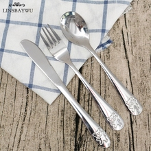 Fork Dinnerware-Sets Cutlery-Set Tableware Spoon Lunch-Appliance Dining Stainless-Steel