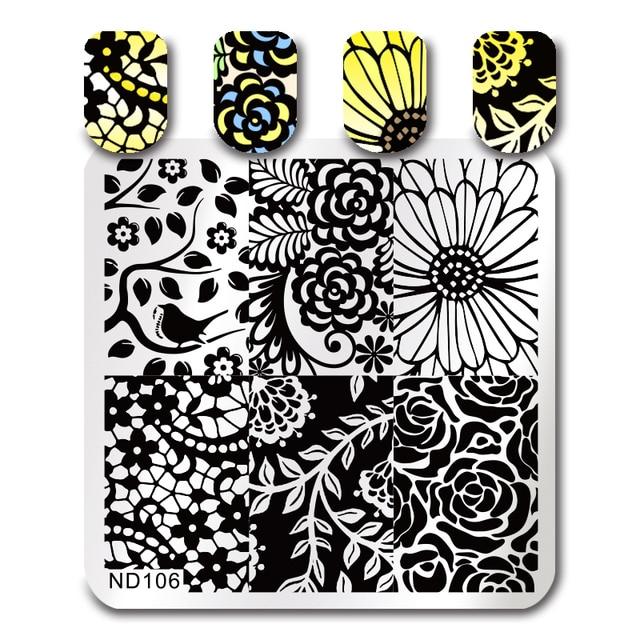Nicole diario Manicura estampado imagen Placas floral Pegatinas para uñas acero inoxidable de alta calidad DIY estampado plantilla 26247