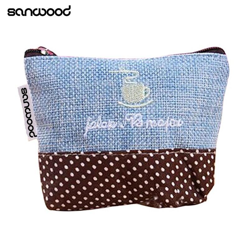 2016 New Design Mini Coin Purse Retro Cotton Handbag Pouch Wallet Money Bag Case Zipper Closure  Gifts 9R54 vsen hot noctilucent cat zipper coin case purse wallet pouch handbag bag