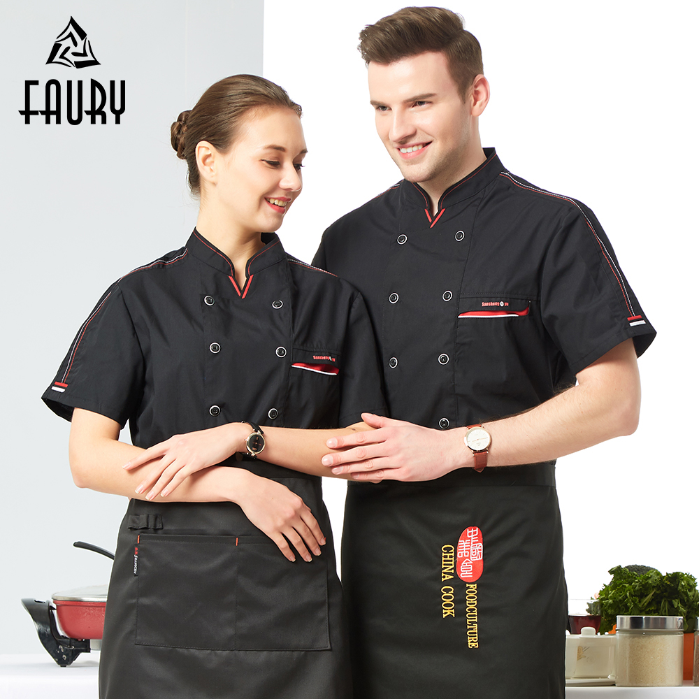 Unisex Short Sleeve Chef Uniform Food Service Catering Restaurant Hotel Kitchen Work Jacket Cooking Coat Summer Chef Overalls