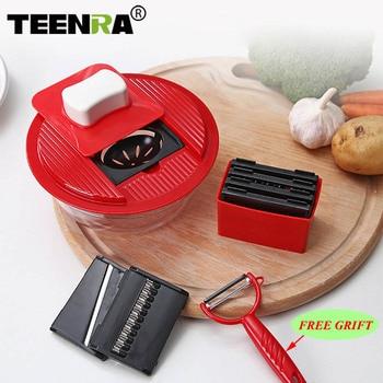 TEENRA Multifunctional Vegetable&Fruit Slicer Mandoline Slicer Vegetable Cutter Manual Potato Peeler Carrot Grater Kitchen Tools fonksiyonlu rende