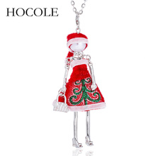 HOCOLE New Cute Red Cloth Dress Doll Necklace Lovely Santa Claus Hat Pendant Christmas Gifts Jewelry For Women Girls