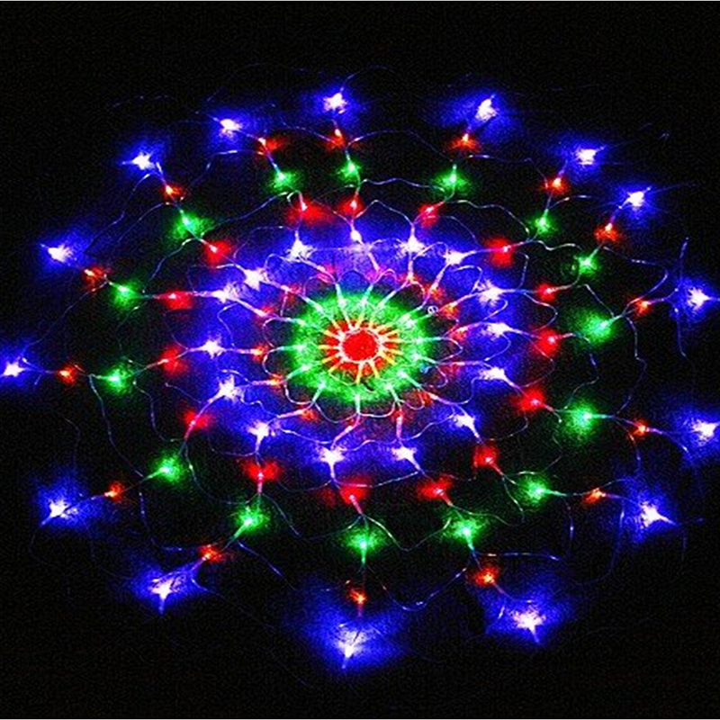 1.2m 120Leds 8 Modes AC 220V Colorful Spider Web Led Fairy String Lights Festival Party Layout Hotel Chandelier Net Lights