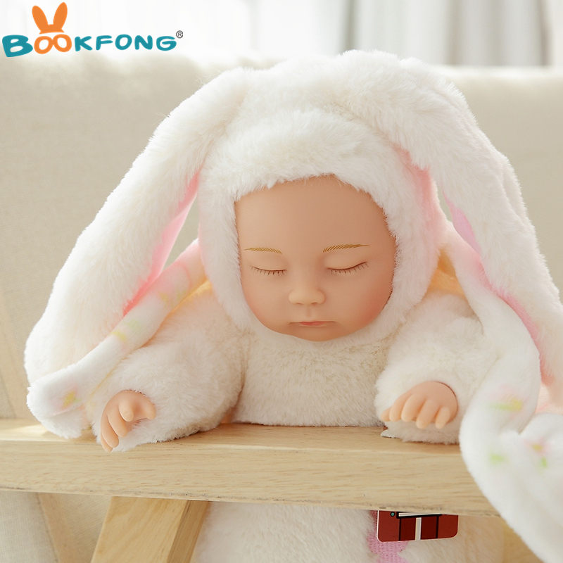 25cm Hot Cute Plush Sleeping Baby Doll Newborn Calm Dolls Soft Bunny Rabbit Toys Sleep Mate Placate Baby Toys Gifts hot sale 12cm foreign chavo genuine peluche plush toys character mini humanoid dolls