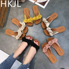 HKJL Slippers summer fashion frosted bowknot outside wear soft bottom cool slippers square head word beach A104
