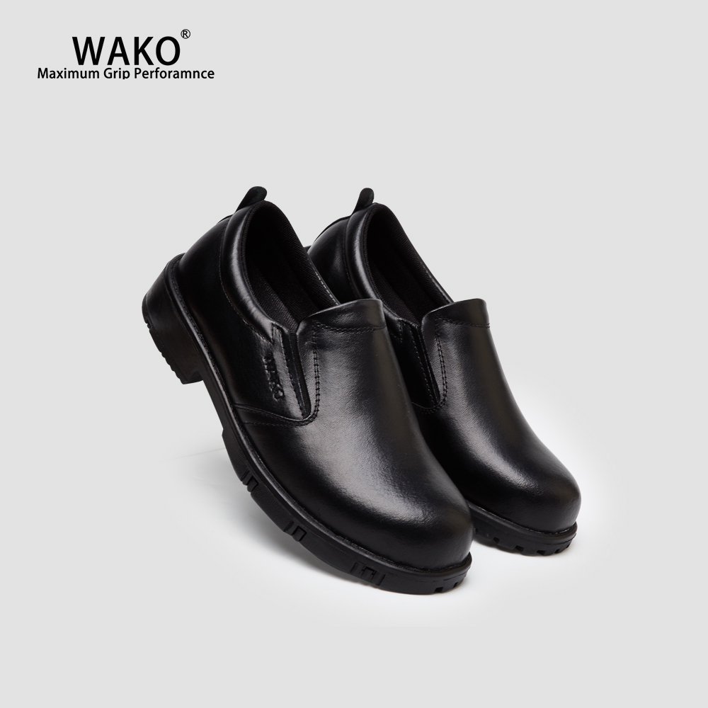 WAKO Chef Shoes Men Anti-Skid Non-Slip Kitchen Cook Work Shoes Black Leather Shoes For Hotel Restaurant Hospital Factory 9802