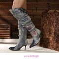 Azul de las señoras Denim Estilete de Tacón Alto Rhinestone Botas Sobre la Rodilla botas de Moda Señaló Botas de Cremallera Toe