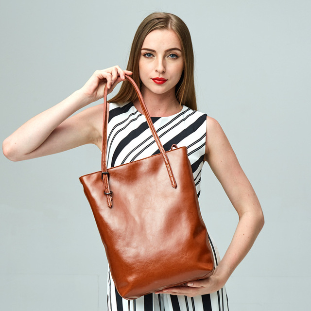 f1e1a1b6d3 Casual Tote Genuine Leather Handbag Bag Fashion Vintage Large Shopping Bag  Designer Crossbody Bags Big Shoulder Bag Female