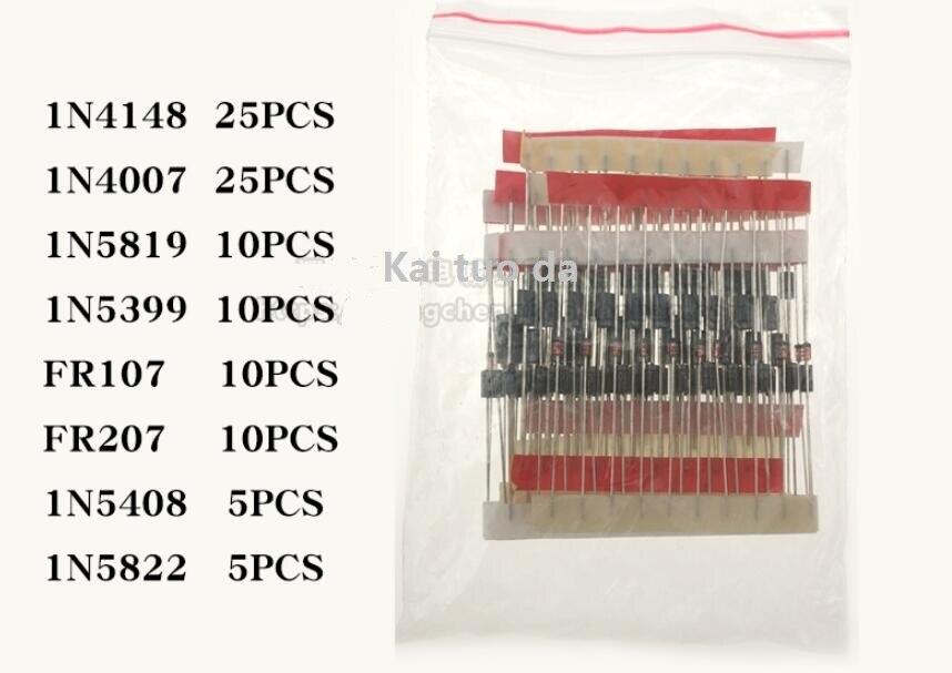 Diode Kit FR107 FR207 1N4148 1N4007 1N5819 1N5399 1N5408 1N5822 8values=100pcs, Assorted Kit set Electronic Components Package