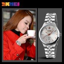 Amantes de la moda skmei reloj de cuarzo mujeres de los hombres de acero inoxidable relojes calendario impermeable relojes de pulsera relogio masculino 9071