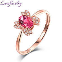 Loverjewelry 14K Rose Gold 0.5ct Pink Tourmaline Diamond Ring Party Jewelry Good Quality Gemstone Wholesale for Women(China)