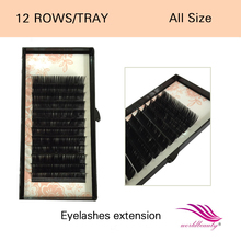 Free shipping! 0.05mm all length J/B/C/D curl  individual nature silk faux mink eyelash extension 10 trays/lot