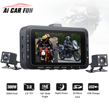 On sale DV168 Dual Lens Motorcycle Car Mounted Biker Action Video Camera DVR Front Back 3.0″ LCD Night Vision 140 Degree Wide Angle