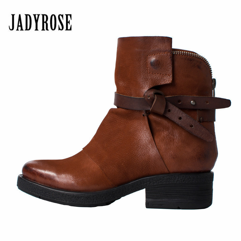 Jady Rose Brown Women Genuine Leather Ankle Boots Double Zipper Autumn Winter Snow Boots Female Platform Rubber Shoes Woman mabaiwan retro brown ankle boots for women metal decor autumn winter botas mujer genuine leather platform rubber shoes woman