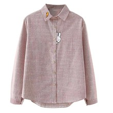 Women Striped Print Blouse Carrot Bunny Embroidery Sweet Shirt Long Sleeve Button Casual Top
