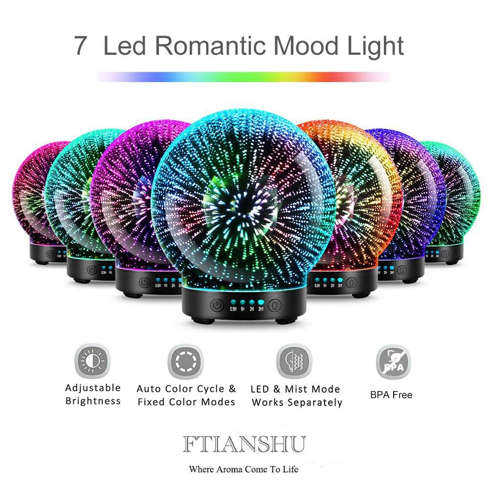 7 LED Cor de Iluminação Modos 3D Essencial Aromaterapia Óleo Da Fragrância Difusor Umidificador de fogos de Artifício Tema Premium Névoa Ultra-sônica