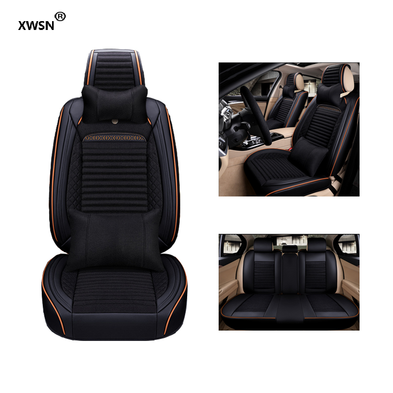 Universal leather linen car seat cover for Cadillac SLS ATSL CTS XTS SRX CT6 ATS Escalade car styling auto accessories