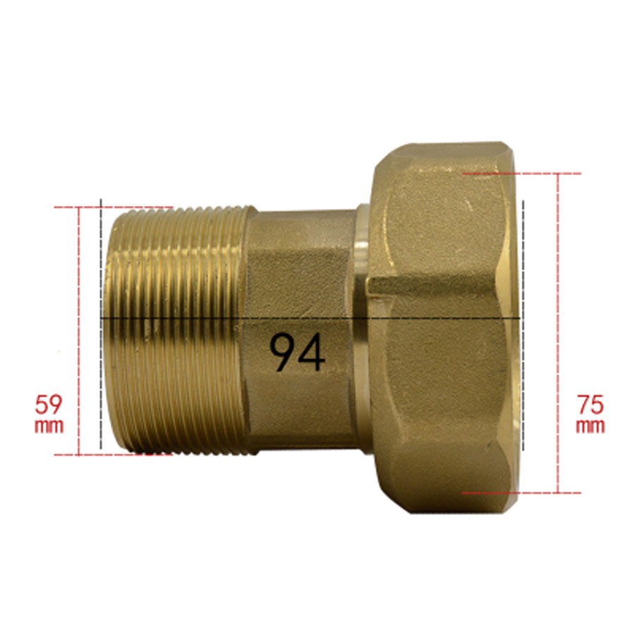 2 1/2 BSP Female To 2 BSP Male Brass Union Pipe Fitting Water Gas Oil For Water Meter