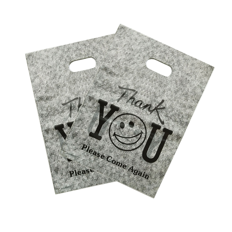 100pcs/lot 25x35cm Thank You Design Gray Plastic Gift Bag Boutique Clothes Jewelry Packaging Bags Big Plastic Shopping Bags