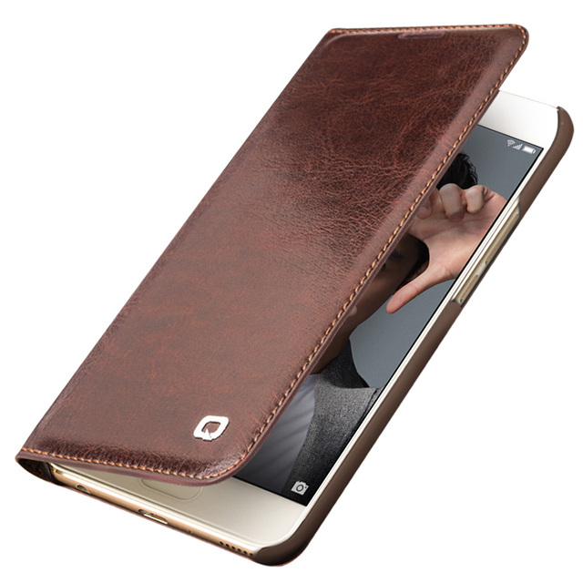 the best attitude d0acb 05b63 US $16.49 45% OFF|QIALINO Genuine Leather Case for Huawei honor 9 Handmade  Wallet Flip Bag Cover for Huawei Honor 9 Luxury Ultra Slim Flip Case-in ...