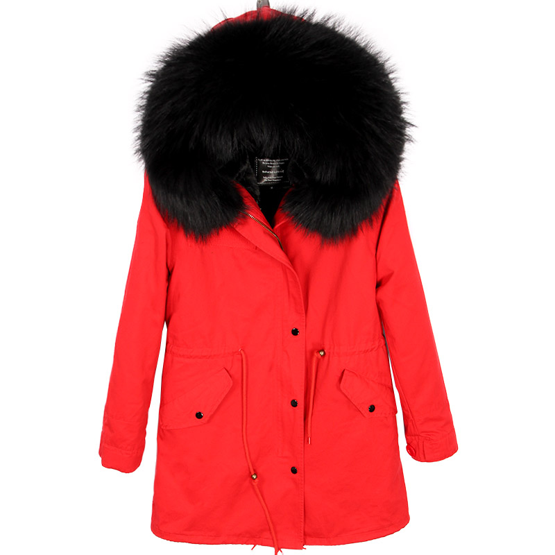 Amovible Laveur Vrai black Réel Parkas Femmes Black L'hiver Épaississement Col white red Pour Doublure De Pink Manteau black Long Raton Plus Velours Red 2018 White Grand Fourrure Coton 4wfYqnzE