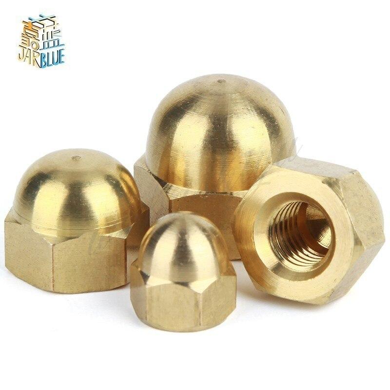 510/20/50Pcs DIN1587 M3 M4 M5 M6 Brass Cap Hex Nuts Decorative Dome Head Cover Semicircle Acorn Nut