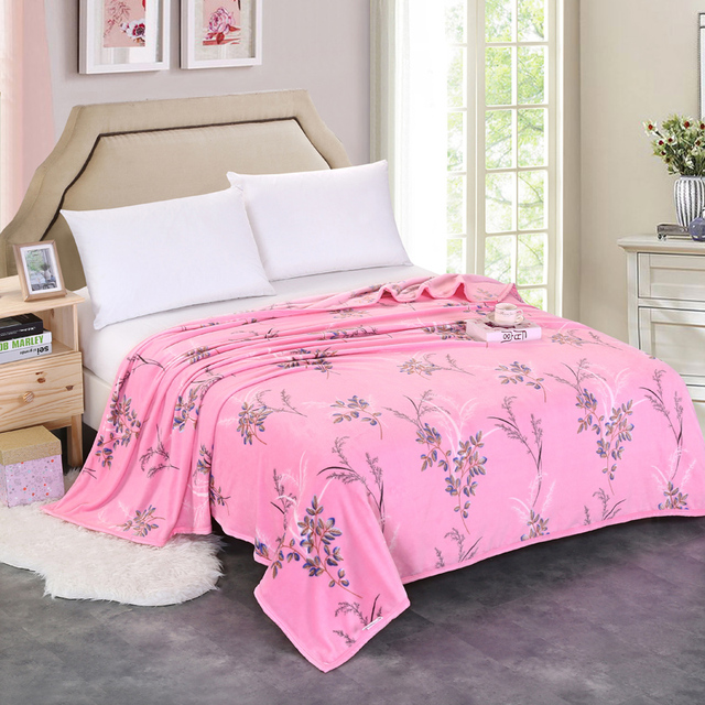 Charming Home Textile Big Size Winter Pink Flower Soft Fleece Blanket Package Edge  Technology Sofa Blanket Bed Pictures Gallery