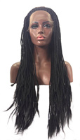 QQXCAIW Black Braided Box Braids Handmade Glueless Lace Front Wig For Women Heat Resistant Synthetic Hair Wigs
