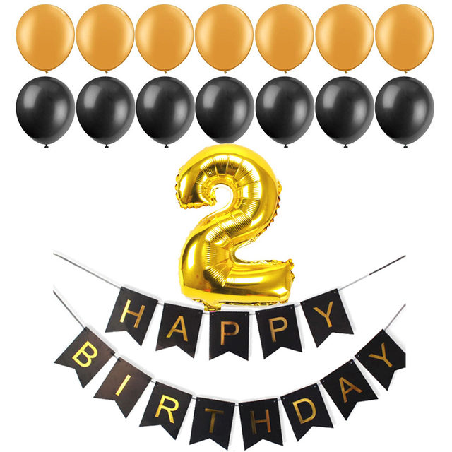 Black Paper Banner Number Foil Latex Balloons Baby Shower Boy Girl First 2 3 4 5 6 7 8 9 Years Old Birthday Decoration Supply