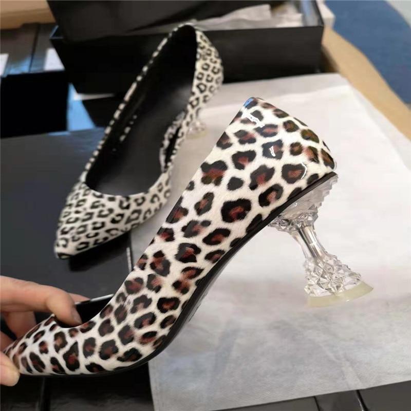 white Étrange Plates Jawakye Chaussures Mode Sexy En Cuir De Léopard Robe Bout Pointu Femme Mariage Diamant Pompes Femmes Talons Khaki BxBzqHw
