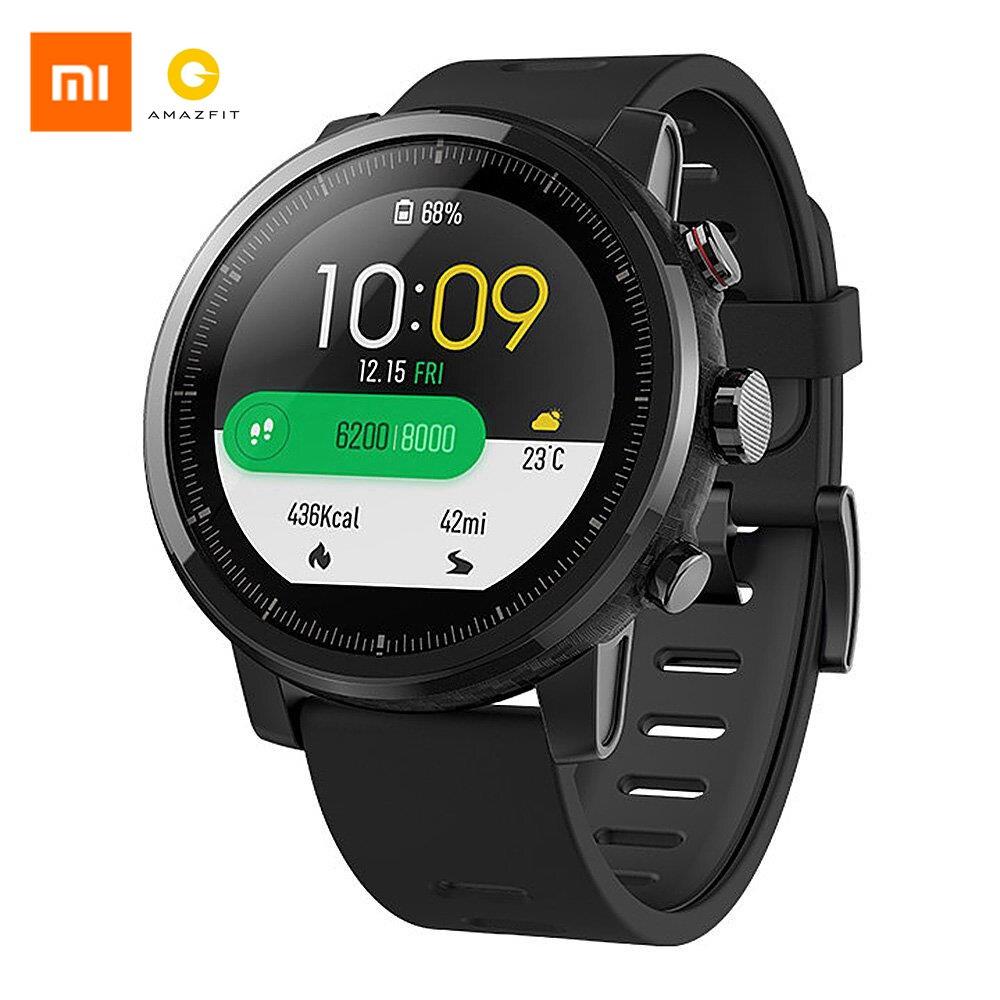 Version anglaise Xiaomi AMAZFIT Stratos 2 GPS montre de sport intelligente 5ATM étanche Smartwatch cadeau Blitzwolf BT Selfie bâton