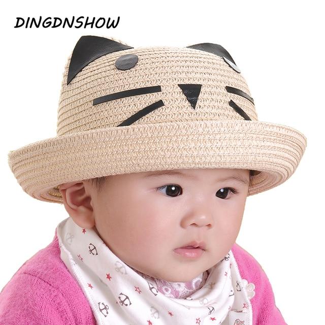 fca36d8748c  DINGDNSHOW  2018 Fashion Sun Hat Cartoon Ear Summer Hat for Boy and Girl  Lovely Beach Cap Children Straw Hat