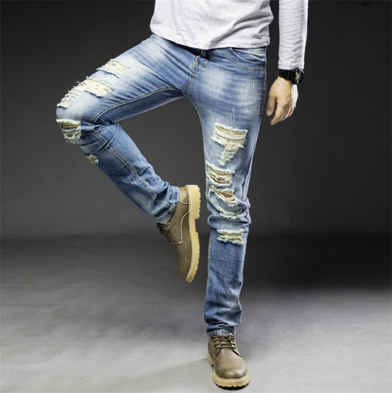 Men   Jeans   Solid Color Holes Straight Slim Fit Long Trousers Casual Pants TC21