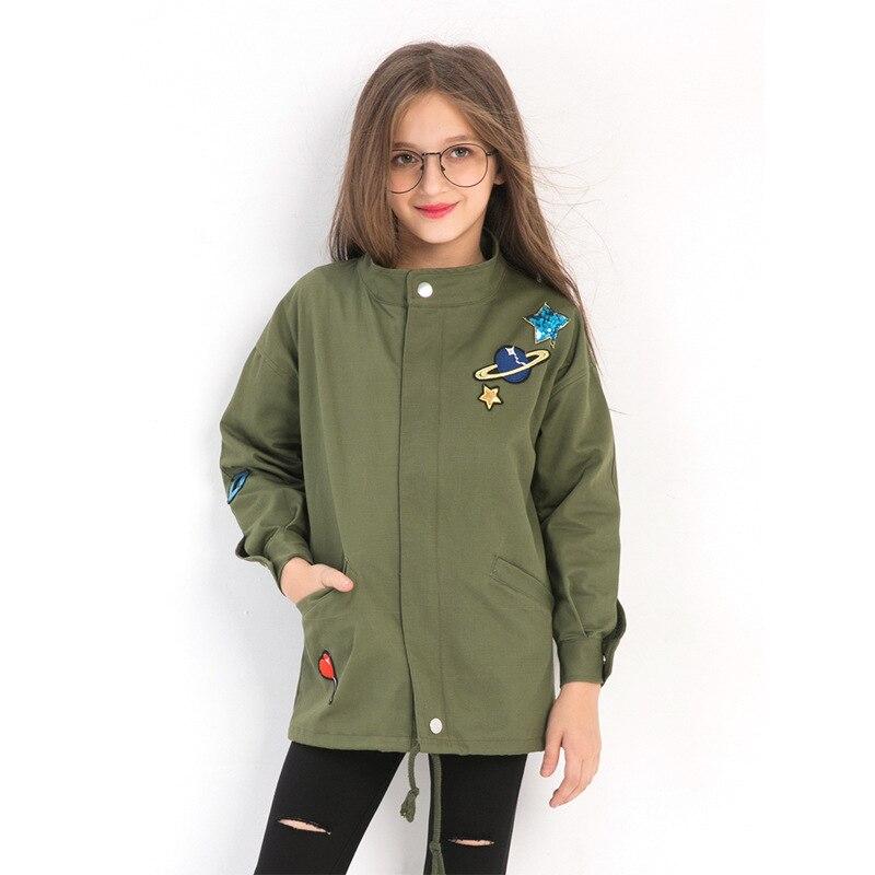 Модные куртки для девочек, вышивка блестками, армейский зеленый плащ, Размер 10, 12, 14 лет, весенне осенняя одежда для девочек подростков