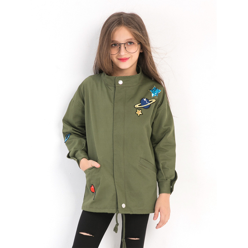 Fashion Girls Jackets Embroidery Sequined Army Green Trench Coat size 10 12 14 years Spring Autumn Teenage Girls Clothing Fashion Girls Jackets Embroidery Sequined Army Green Trench Coat size 10 12 14 years Spring Autumn Teenage Girls Clothing
