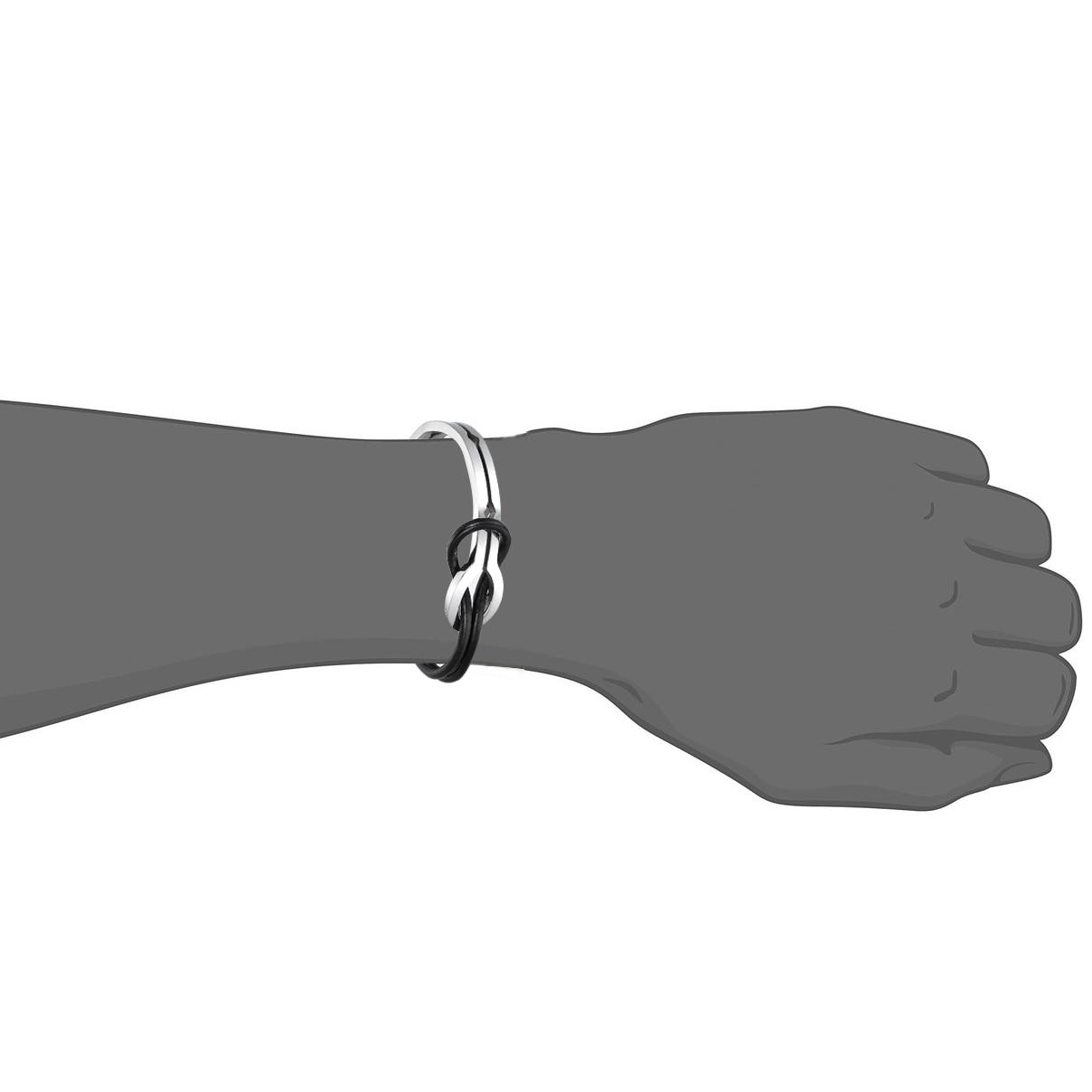 Cool Men Infinity Stainless Steel Leather Bracelet 4