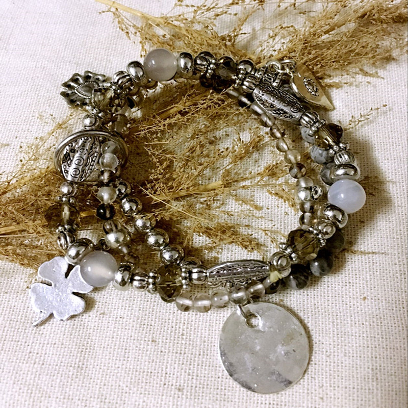 Dongmu Jewllery New 2017 Hand-made Crystal Bracelet Beaded Bracelet Stretch Combination For Women Natural Stone For Christmas