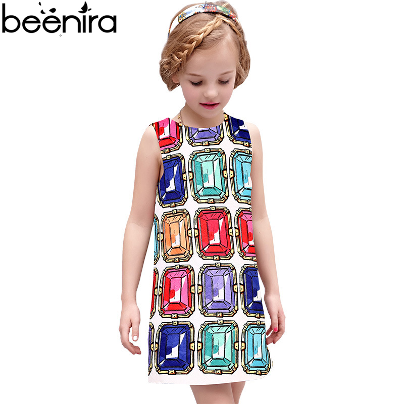 BEENIRA Summer Girls Dress Kids Princess Dresses Children Diamond Print Vest Clothing For Daughter High Quality 4y-14y new girls dress brand summer clothes ice cream print costumes sleeveless kids clothing cute children vest dress princess dress