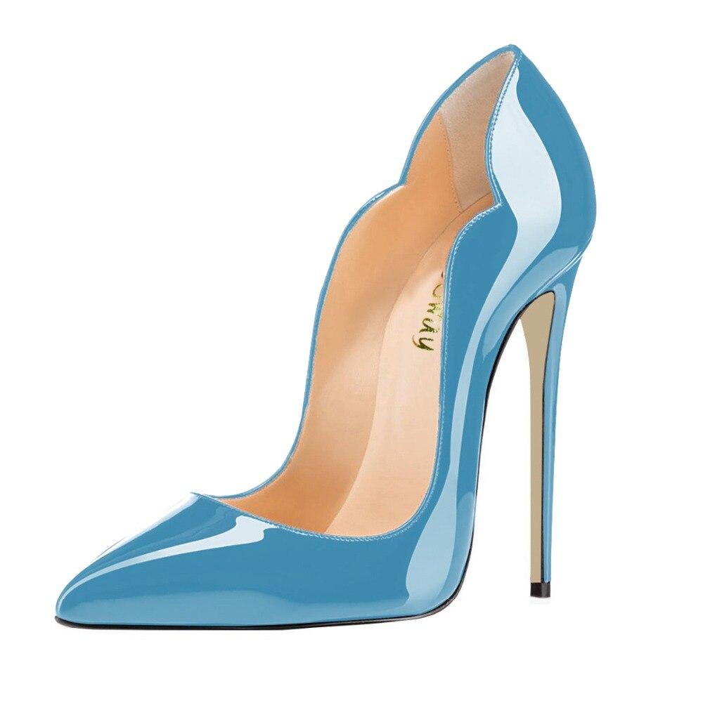 Primavera Las Cuero yellow Blue En Slip Aiyoway Finos Puntiagudo Dedo Clubwear Mujeres Tacones Atractivo Calzado Sky Del Tacón Bombas Alto De Blue dark Otoño Fiesta Pie Zapatos 71Rwq6FEW1