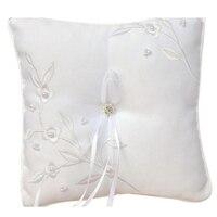 1 pc Strass Laço Do Vintage Travesseiro Anel de Casamento com Lace Flower Decor Nupcial Mariage Decoração Decoração Do Casamento 18*18 cm