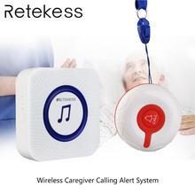 Retekess hemşirelik ev yaşlı çağrı sistemi acil çağrı cihazı Kablosuz Bakıcı Çağrı Uyarısı Sistemi Çağrı Düğmesi + Alıcı