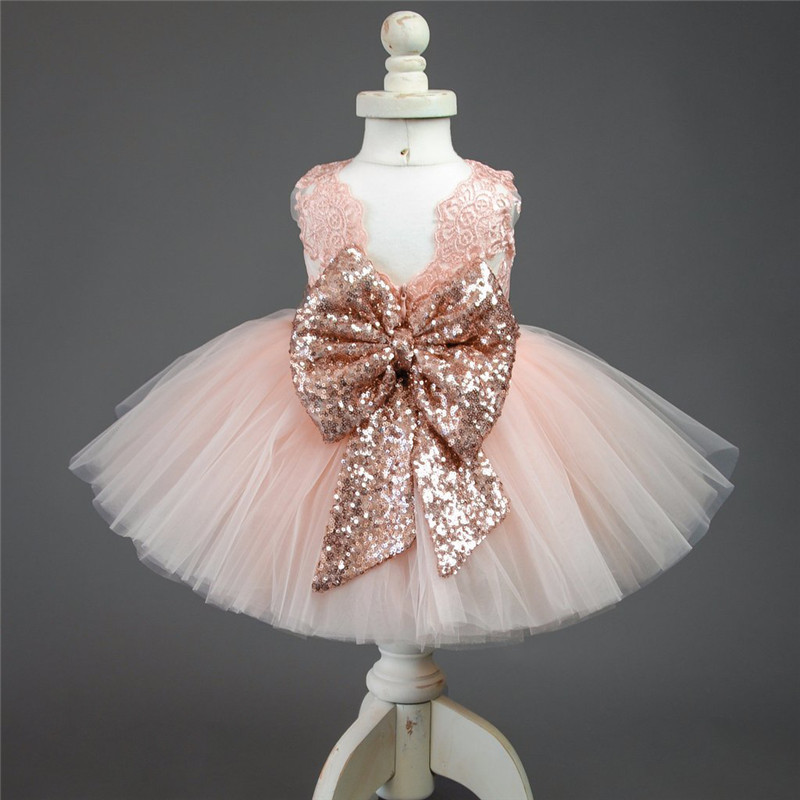 Berngi New High Quality White and Pink Cotton Baby Princess Dress V collar Sequined Big bowknot Little Girl Party dresses